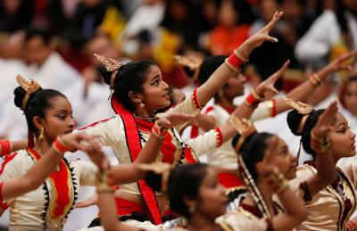 Dancers from Sri Lanka perform after a Mass for Sri Lankan pilgrims in St. Peter's Basilica at the Vatican Feb. 8. After the Mass and performance, Pope Francis greeted an estimated 12,000 Sri Lankans living in Italy who were in attendance.