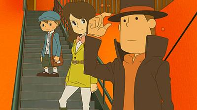 """This is an image from the video game """"Professor Layton and the Azran Legacy"""" (Level-5). The Catholic News Service Classification is A-I -- general patronage. The Entertainment Software Rating Board rating is E -- everyone."""