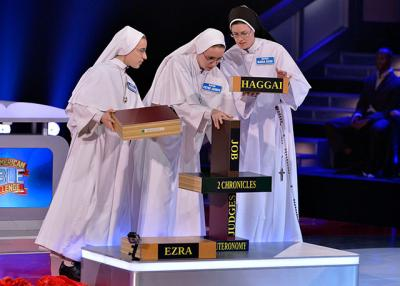 "Sisters Evangeline, Peter Joseph and  Maria Suso participate in the second season of ""The American Bible Challenge."" The three  Dominican Sisters of Mary, Mother of the Eucharist from Ann Arbor, Mich., made it into the final round of the Bible trivia program on cable TV's Game Show Network. The third season of the series will premiere May 22."