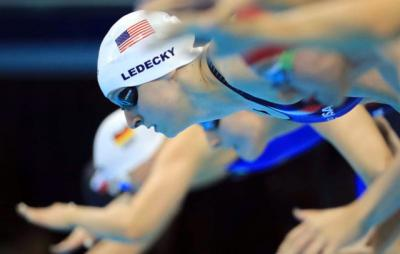 U.S. swimmer Katie Ledecky competes in the 800-meter freestyle final during the Summer Games in Rio de Janeiro Aug. 11. Ledecky, who attended Catholic schools in Bethesda, Md., won multiple Olympic gold medals.