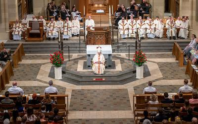 Bishop Salvatore R. Matano delivers the homily at the 2019 Deacon Ordination Mass.