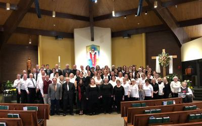 Participants in the April 15 Easter Hymn Festival pose at St. John of Rochester Church in Fairport.  </p>