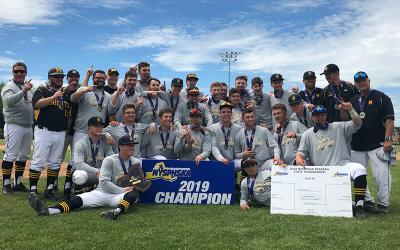 <p>McQuaid Jesuit High School Baseball celebrates state title win</p>
