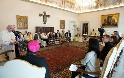 Pope Francis meets with a group of clergy and laypeople