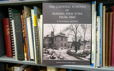 Sister Anne Marie Saphara, OSF, and her sister, Davia Ellen Jordan, recently published a book that illustrates the rich history of Catholic education in their hometown of Auburn. (Courier photo by John Haeger)