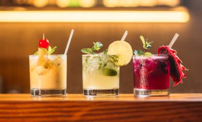 alcoholic drinks lined up