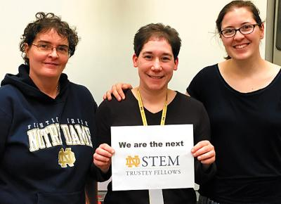 Three teachers at St. Mary School in Canandaigua, Debra Marvin (from left), Suzanne Pohorence and Ryan Kincaid, were recently selected as Trustey Family STEM Teaching Fellows.
