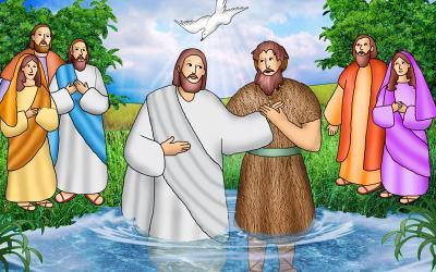 Illustration of John the Baptist baptizing Jesus