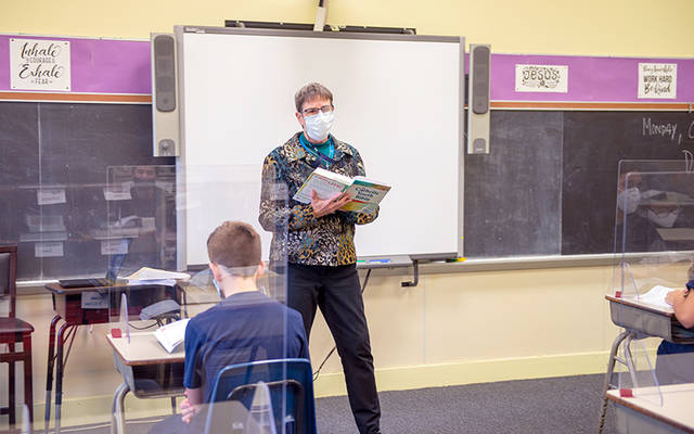 Sister of Mercy Laurie Orman teaches a class at St. Mary School in Canandaigua Oct. 26.