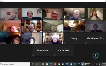The rosary is said over video call. (Screenshot courtesy of Angela Jeronimo)