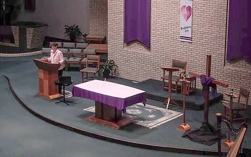 """Damian Zynda leads a retreat titled """"Prayer and Living in a Post-COVID World"""" at Church of the Transfiguration in Pittsford March 2. (Courier screenshot via YouTube)"""