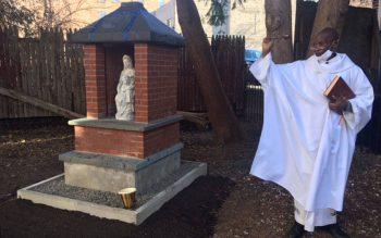 Father Augustine Chumo blesses the Mary Shrine during its dedication on Dec. 8, 2020.