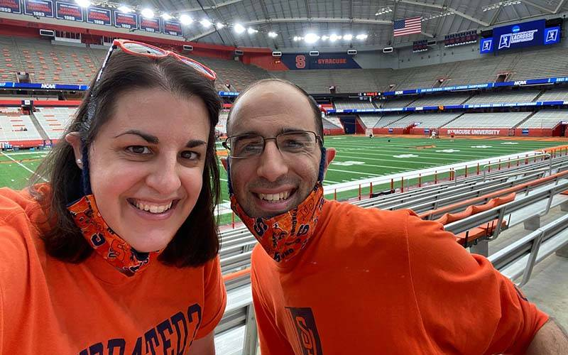 Gina Capellazzi and her brother, Mark Capellazzi, at the Dome on the Syracuse University campus May 16, 2021. (Courier photo by Gina Capellazzi)