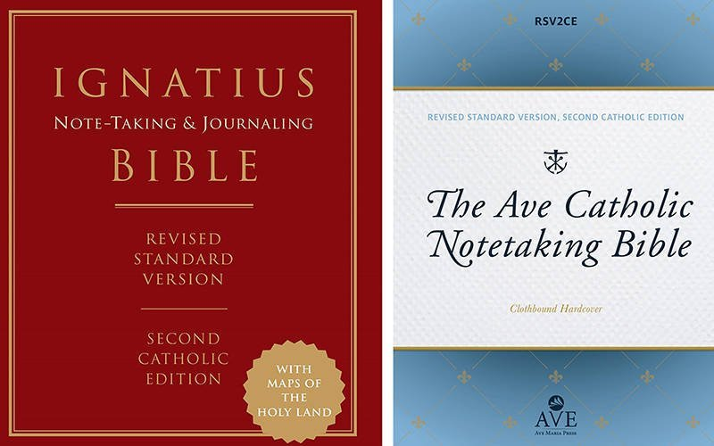 """These are the covers of the """"Ignatius Notetaking and Journaling Bible,"""" published by Ignatius Press, and """"The Ave Catholic Notetaking Bible,""""published by Ave Maria Press. These books are reviewed by Eugene J. Fisher. (CNS composite courtesy Ignatius Press, Ave Maria Press)"""