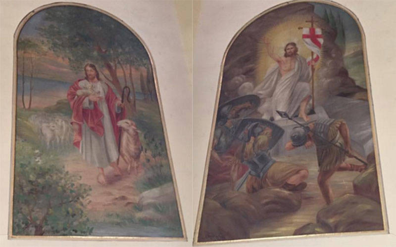 Two murals at Sacred Heart Church in Perkinsville were painted by Joseph Fredrick Degering. (Photo courtesy of Sandy Booth)