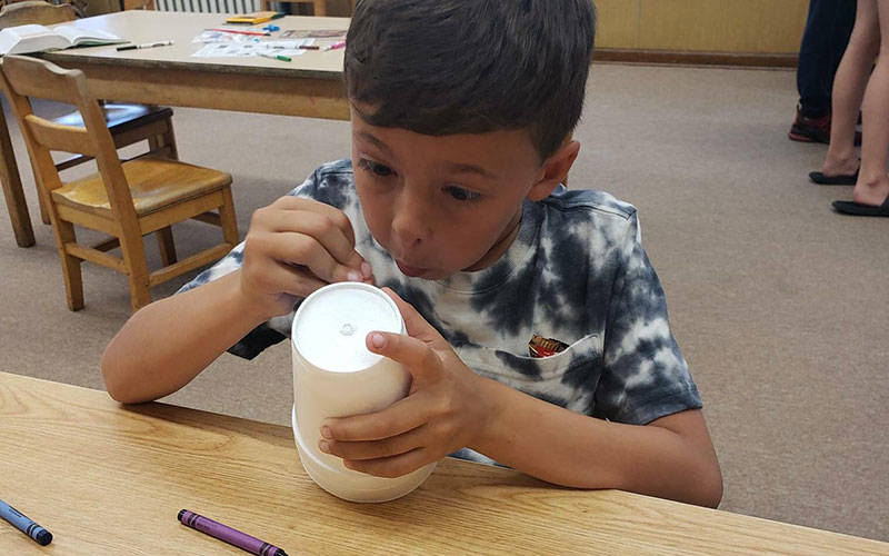 A faith-formation student from Our Lady of the Valley Parish works on a craft June 13 during Craft and Prayer night at St. Ann Church in Hornell. (Photo courtesy of Lisa Brott)(Photo courtesy of Lisa Brott)