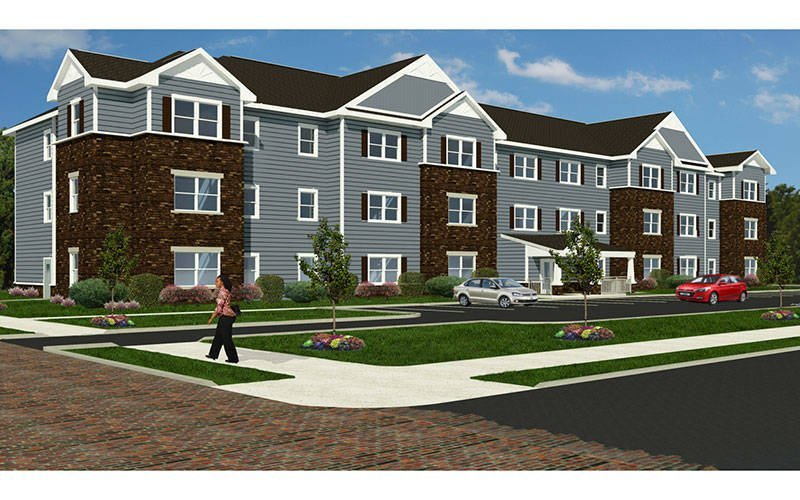 An illustration of LaFrance Apartments in Elmira. (Courtesy of of Providence Housing Development Corp.)