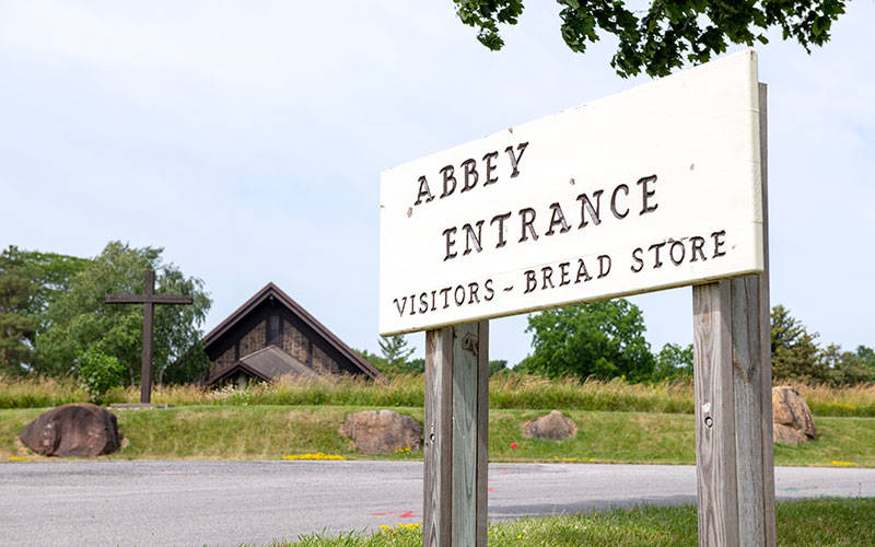 The entrance to the Abbey of the Genesee is seen June 25 in Piffard, Livingston County. (Courier photo by Jeff Witherow)