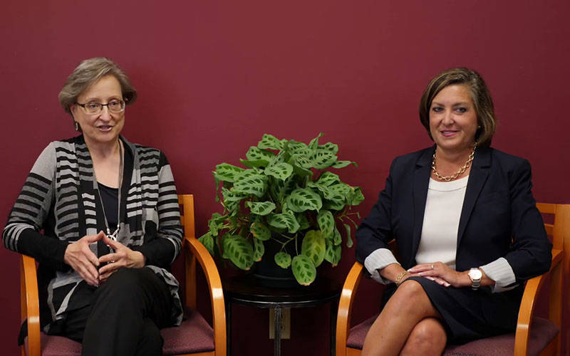 Catholic Family Center President and CEO Marlene Bessette (left) and Catholic Charities Community Services Executive Director Lori VanAuken (right) are seen in a screenshot taken from a video in which they discussed the merger of the two agencies. (Courtesy of Catholic Family Center)