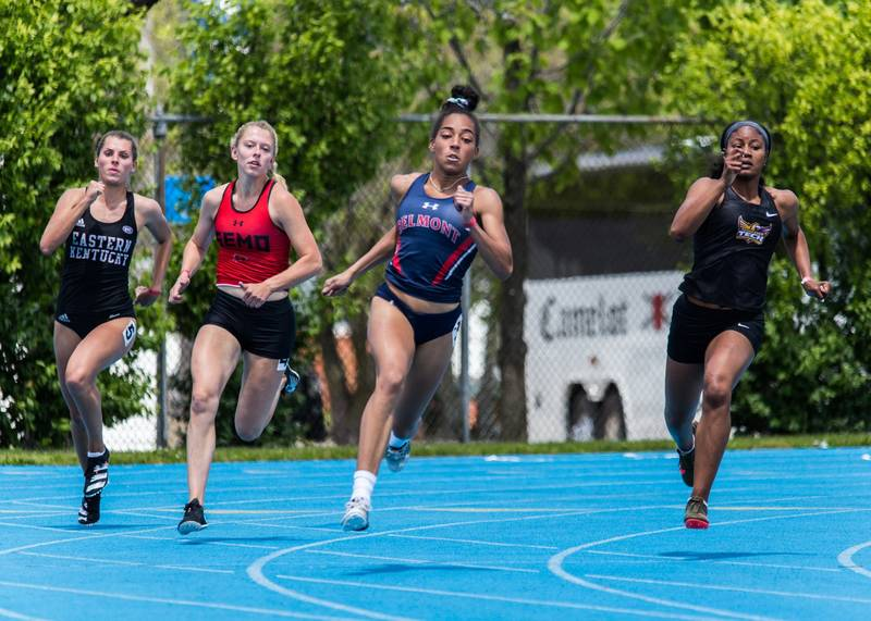Adreanna Parlette, center, a 2017 graduate of St. Cecilia Academy in Nashville, Tenn., will compete in the long jump for the U.S. during the Tokyo Olympics July 23-Aug. 8, 2021. She will graduate from Belmont University in August and was named the 2021 Ohio Valley Conference's Female Field Athlete of the Year. (CNS photo by Belmont University, courtesy Tennessee Register)
