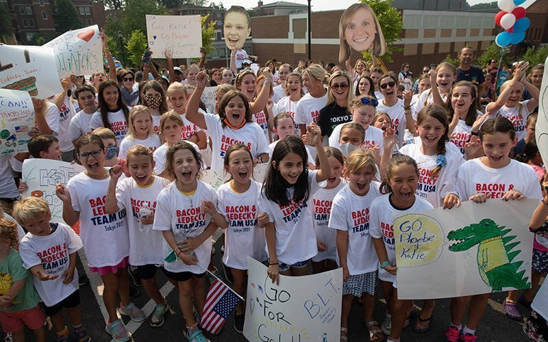 Students at Stone Ridge School of the Sacred Heart in Bethesda, Md., cheer on alumnae Katie Ledecky, of the class of 2015, and Phoebe Bacon, of the class of 2020, during an Olympics pep rally July 19, 2021. The two swimmers will compete in the Tokyo Olympics, which begin July 23. (CNS photo by Andrew Biraj/Catholic Standard)