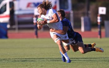 U.S. rugby player Joe Schroeder competes against Argentina in this undated photo. The 2012 Indianapolis Cathedral High School graduate will represent his country in the Tokyo Olympics July 23-Aug. 8, 2021. (CNS photo by Travis Prior/courtesy The Criterion)