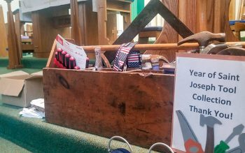 Donated tools are seen at St. Paul of the Cross Church in Honeoye Falls. (Courier photo by Mike Latona)