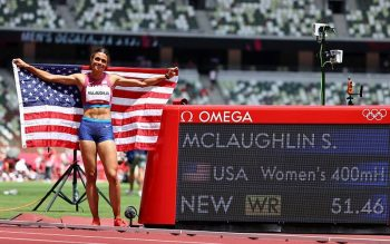 U.S. runner and gold medalist Sydney McLaughlin celebrates Aug. 4, 2021, after breaking the world record to win the women' 400-meter hurdles final at Olympic Stadium at the 2020 Tokyo Olympics. (CNS photo by Lucy Nicholson/Reuters)