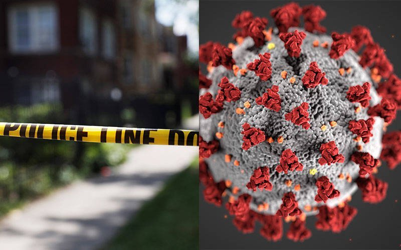 Chicago police crime scene tape (left) is posted at the scene of a shooting July 26, 2020. An illustration created at the Centers for Disease Control and Prevention (right) reveals ultrastructural morphology exhibited by coronaviruses. (Crime scene photo by Shannon Stapleton/Reuters; coronavirus photo courtesy of cdc.gov)