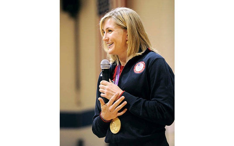 Olympic gold-medalist Meghan Musnicki, a Naples, N.Y. native and member of the U.S. Women's Rowing Team, spoke to students at St. Francis-St. Stephen School in Geneva in 2012. (Courier file photo)