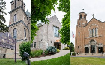 Auburn's Holy Family Church (from left), St. Francis of Assisi Church and St. Alphonsus Church are seen July 1. (Courier photos by Jeff Witherow)