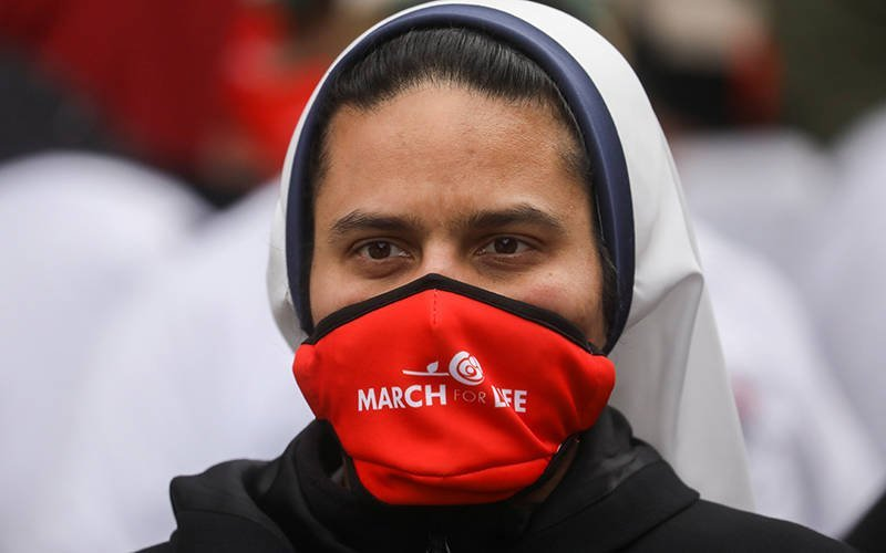 A woman religious is seen during the 48th Annual March for Life in Washington Jan. 29, 2021, amid the coronavirus pandemic. (CNS photo by Leah Mills/Reuters)