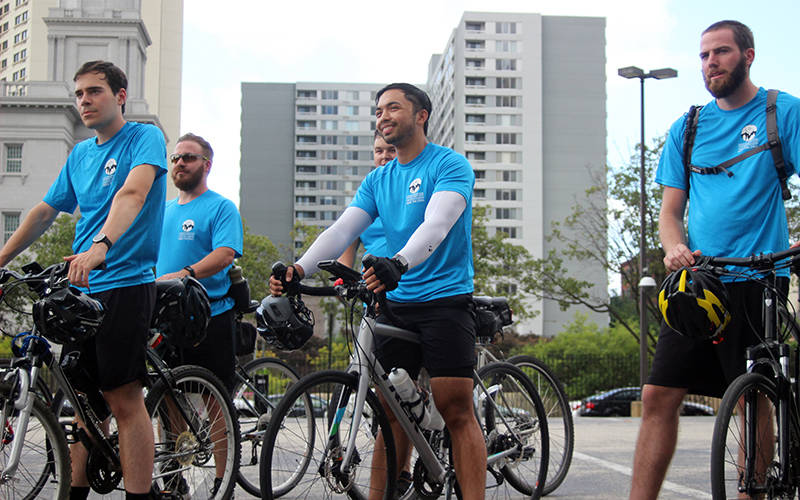 A group of seminarians arrives in Philadelphia Aug. 8, 2021, at the conclusion of their five-day Biking for Vocations tour of some two dozen parishes and institutions in the Archdiocese of Philadelphia and Diocese of Allentown, Pa. (CNS photo by Gina Christian/CatholicPhilly.com)