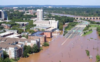 Roads are covered in floodwaters caused by the remnants of Tropical Storm Ida in New Brunswick, N.J., Sept. 2, 2021, which brought drenching rain, flash floods and tornadoes to parts of the Northeast. (CNS photo by Drone Base/Reuters)