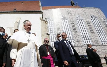 Pope Francis leaves after leading a meeting with priests, men and women religious, seminarians and catechists at the Cathedral of St. Martin in Bratislava, Slovakia, Sept. 13, 2021. (CNS photo by Paul Haring)