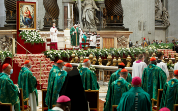 Pope Francis celebrates a Mass to open the process that will lead up to the assembly of the world Synod of Bishops in 2023, in St. Peter's Basilica at the Vatican Oct. 10, 2021. (CNS photo by Remo Casilli/Reuters)