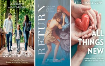 Three new books on raising Catholic children underscore the important role that parents play in the faith lives of their kids. (CNS composite courtesy of Oxford University Press, Word on Fire Catholic Ministries, Our Sunday Visitor)