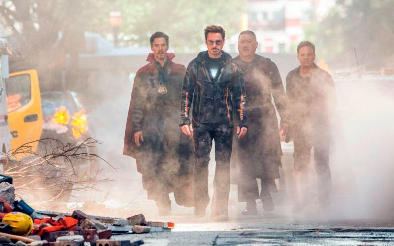 """Benedict Cumberbatch, Robert Downey Jr., Benedict Wong and Mark Ruffalo star in a scene from the movie """"Avengers: Infinity War."""" (CNS photo by Marvel Studios)"""