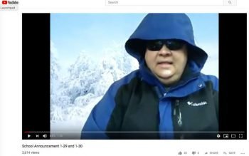 """In this screenshot off YouTube, principal Marcel Kielkucki of Beckman Catholic High School in Dyersville, Iowa, is seen during a video parody of his snow day announcement. The song he chose was """"Cold As Ice."""" (CNS photo by The Witness)"""