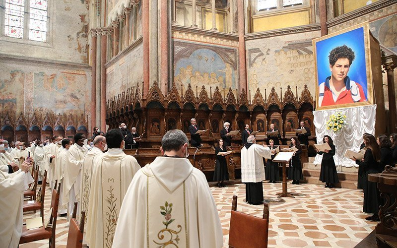 Clergy attend the beatification Mass of Carlo Acutis in the Basilica of St. Francis in Assisi in Assisi, Italy, Oct. 10, 2020.