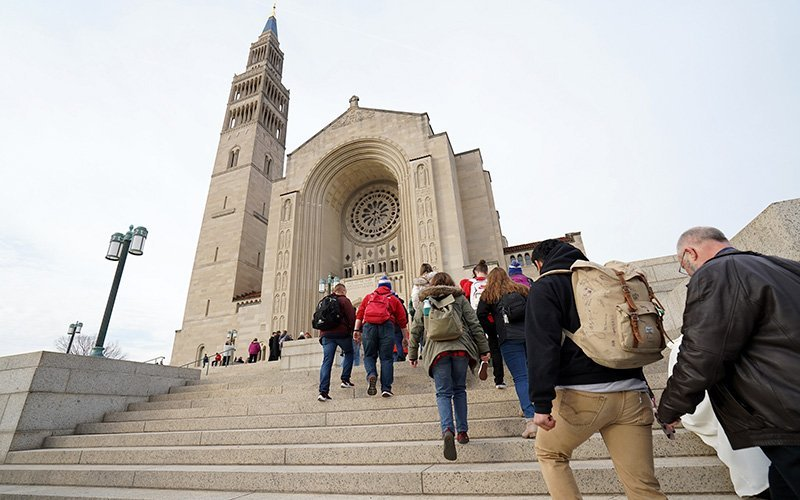 People arrive for the National Prayer Vigil for Life Jan. 23, 2020, at the Basilica of the National Shrine of the Immaculate Conception in Washington.