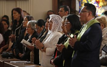 Worshippers pray