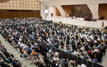 Pope Francis leads an audience with the faithful from the Diocese of Rome at the Vatican Sept. 18, 2021.