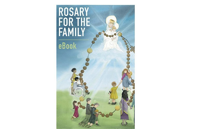 The Vatican Dicastery for Laity, the Family and Life and the Pope's Worldwide Prayer Network have published a free e-book designed to help families pray the rosary together. This is the cover of the e-book. (CNS photo by Vatican Dicastery for Laity, the Family and Life)