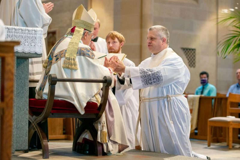 Then-Deacon Steven Lewis promises his respect and obedience to Bishop Salvatore R. Matano and his successors.