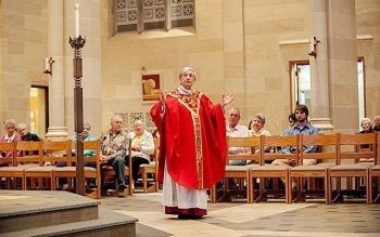 Bishop Salvatore R. Matano delivers the homily during his first Mass at Sacred Heart Cathedral Nov. 6. (Courier photo by Mike Crupi)