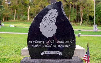 A memorial recalling the unborn — made possible by the Knights of Columbus and other pro-life advocates — was dedicated at Holy Cross Cemetery in Dansville in 2016. (Courier photo by Jeff Witherow)