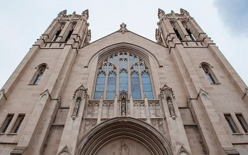 Pictured is the exterior of Sacred Heart Cathedral in Rochester.