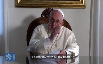 Pope Francis is pictured in a Nov. 22 screen grab sending a message to attendees of the National Catholic Youth Conference in Indianapolis. (CNS screen grab by Vatican News)