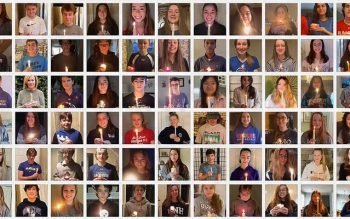 The youth group at Fairport's Church of the Resurrection created a candle-passing video as a means to minister to teens amid social-distancing regulations. (Photo courtesy of Church of the Resurrection)